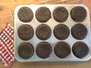 """baked chocolate cupcakes"""