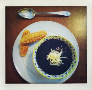 """black bean soup and cornbread"""