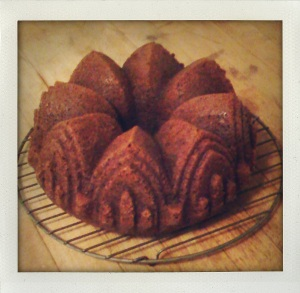 """gingerbread made in cathedral bundt pan"""