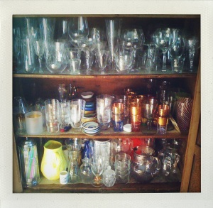 """glassware in pie cupboard"""