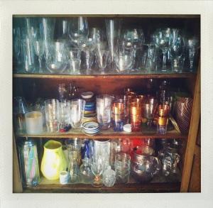 """""""glassware in pie cupboard"""""""