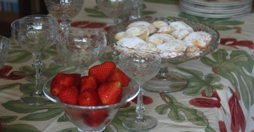 """madeleines and strawberries"""