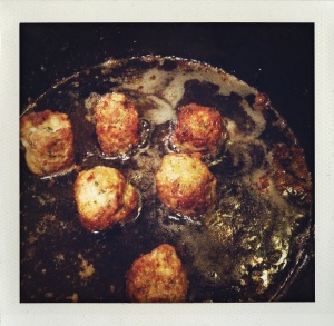 """cubic meatballs getting all nice and crusty"""