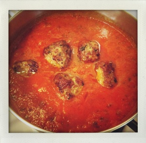 """simmering cubic meatballs"""