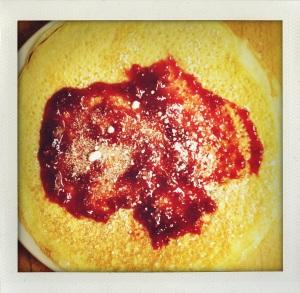 """raspberry and powdered sugar crêpe"""