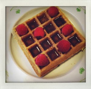"""waffles, maple syrup & raspberries"""