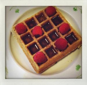 """waffles, maple syrup & raspberries"""
