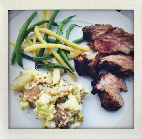 """Grammy Caldwell's potato salad with lamb and green beans"""
