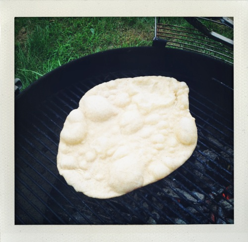 """pizza dough grilling looks like moon bread"""
