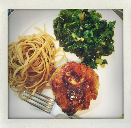 """turkey burger with sesame noodles and kale"""