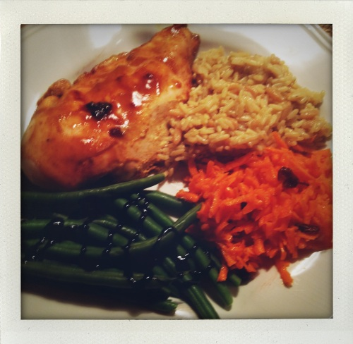 """Honey mustard chicken with green beans, carrot rappes salad and rice pilaf"""