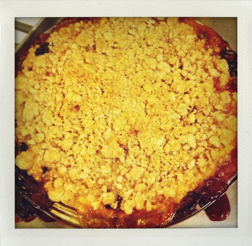 """Peach blackberry crumble"""