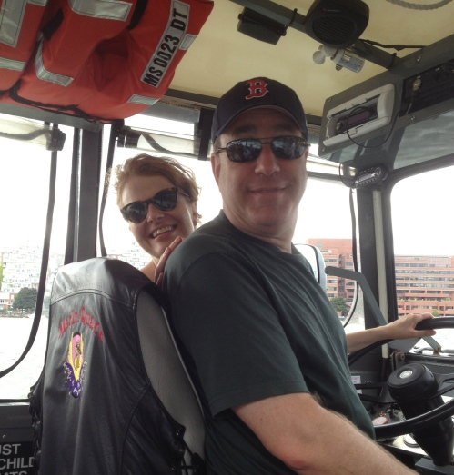 """Heather & Paul driving the duck boat"""