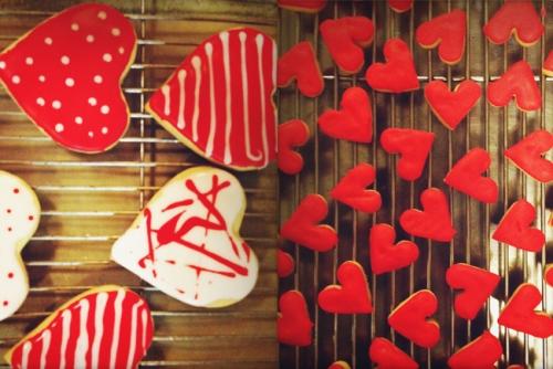 """iced heart shaped sugar cookies"""