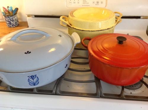 """cast iron enameled pots"""