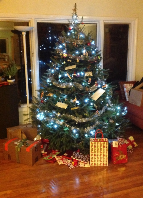 """christmas tree with duct tape wrapped presents"""