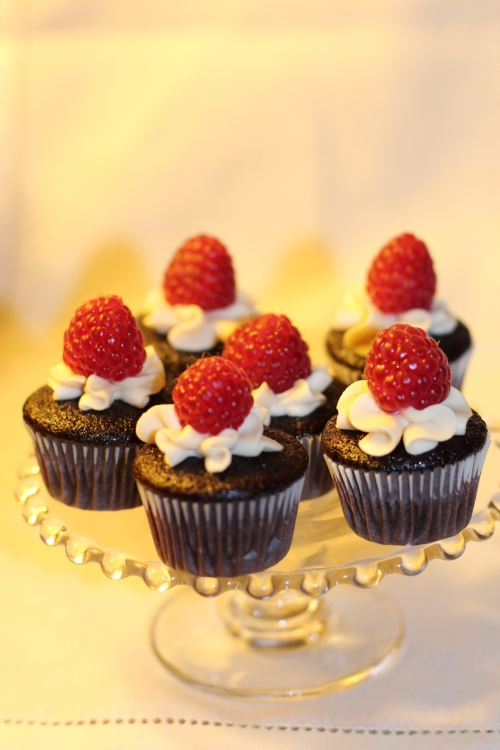 """miniature chocolate cupcakes with raspberries"""