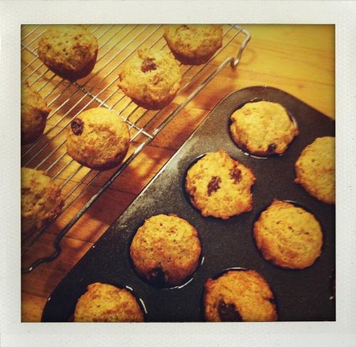 """raisin bran muffins cooling"""