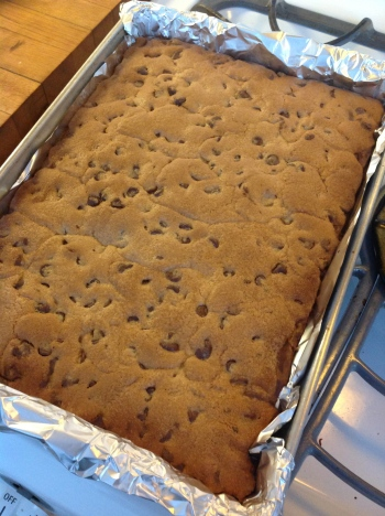 chocolate chip cookie bars ready to cut