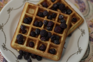 Buttermilk waffles with black raspberries