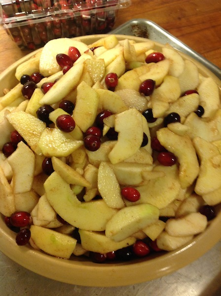 apples and cranberries ready for crumple topping