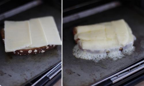 Cheesey bananas on toast