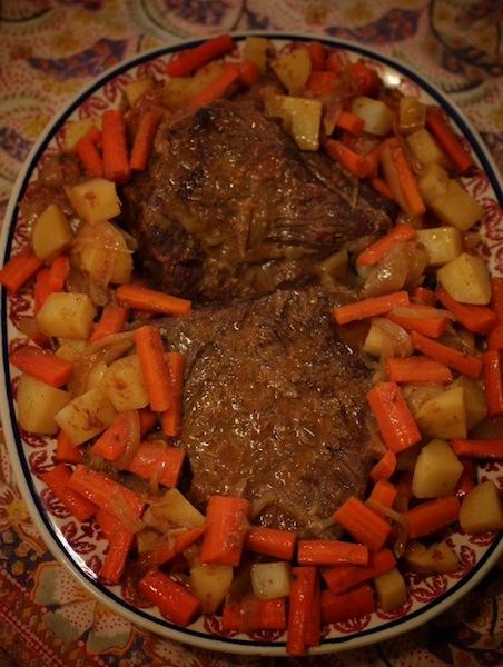 Beef brisket, carrots and potatoes