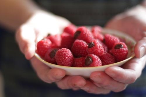 Raspberries filled with Chocolate Ganache