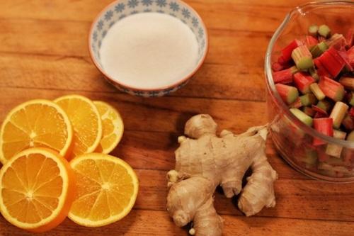 Ingredients for stewed rhubarb