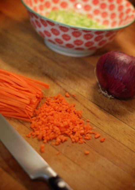 Micro mirepoix vegetables