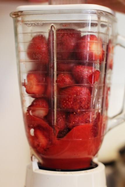 Whizzing up strawberry goo