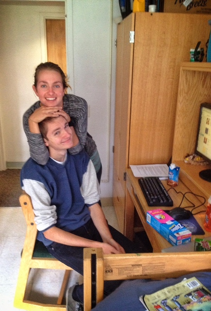 Isabelle and Russell in his dorm room.