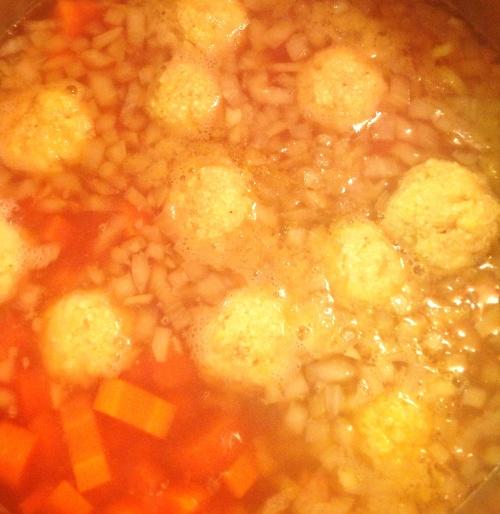Simmering the best matzo balls ever!