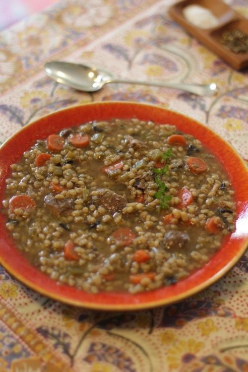 Mushroom, barley, lamb soup