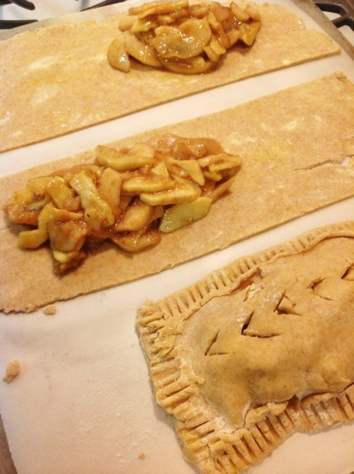Adding filling to homemade apple pop tarts