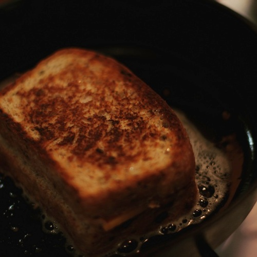 Grilled cheese sandwich made with cottage cheese dilly bread