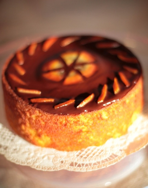 Clementine Almond cake with Chocolate Glaze and Candied Citrus Peel