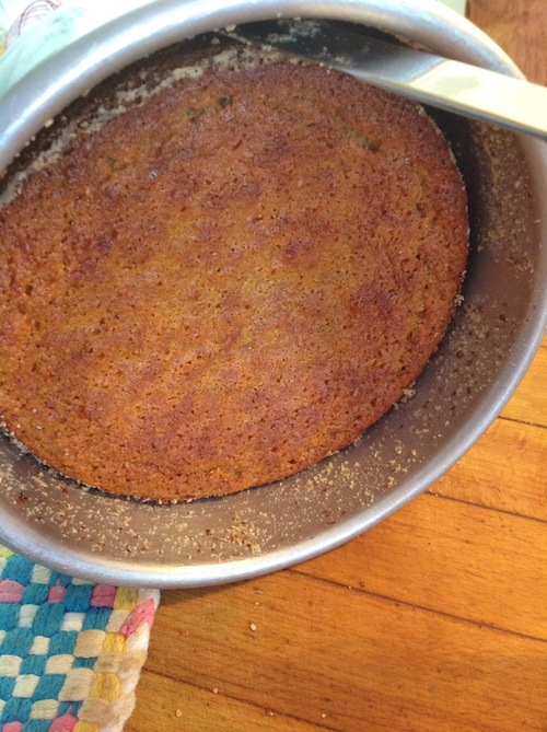 Ease the cake away from the bottom and sides of the pan with a thin knife