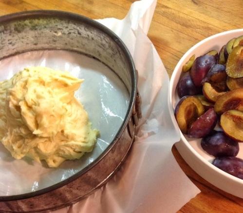 Making Italian plum cake