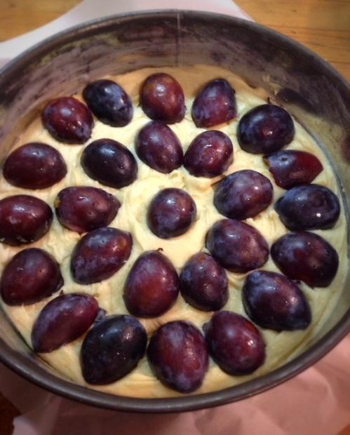 Use as many plums as you can fit in the pan