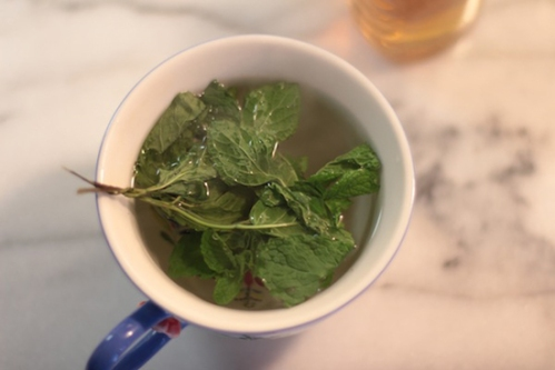 Steeping a cup of home grown mint tea