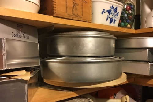 Stacks of cake pans