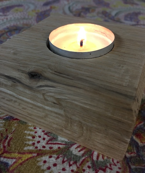 WorkableWoods red oak candle holder