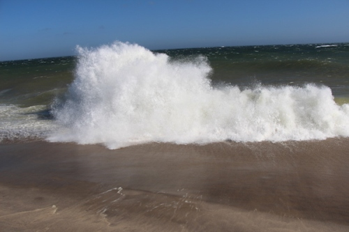 Crashing wave on Sconset Beach Nantucket
