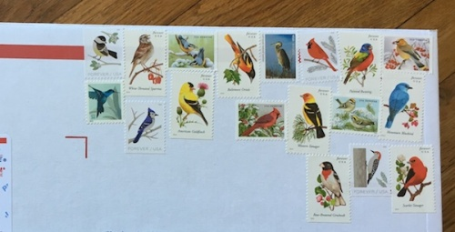 Bird themed stamps on mailing box.