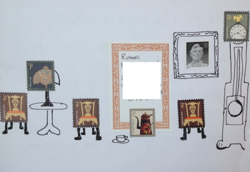 Envelope using stamps to make a room setting.
