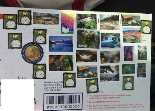 Time to get out in nature stamp theme on mailing box.