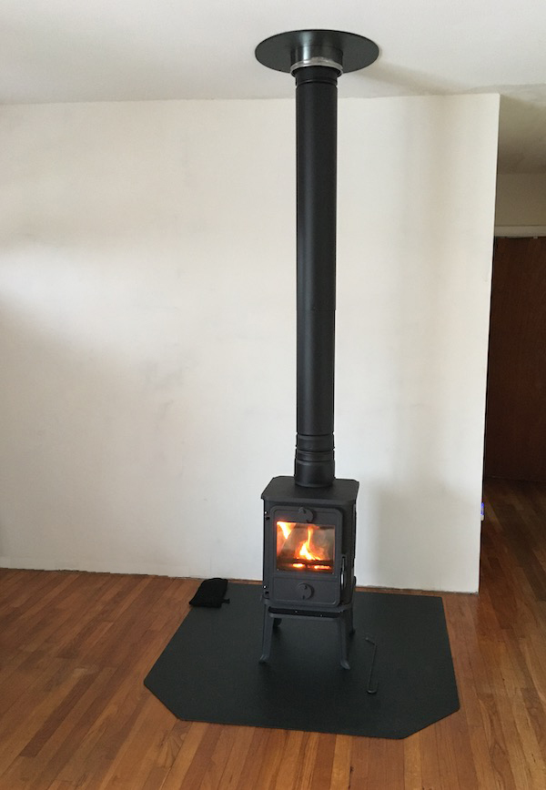 A newly installed Mørso wood stove.